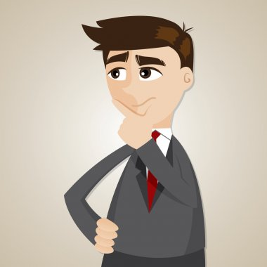 cartoon businessman thinking