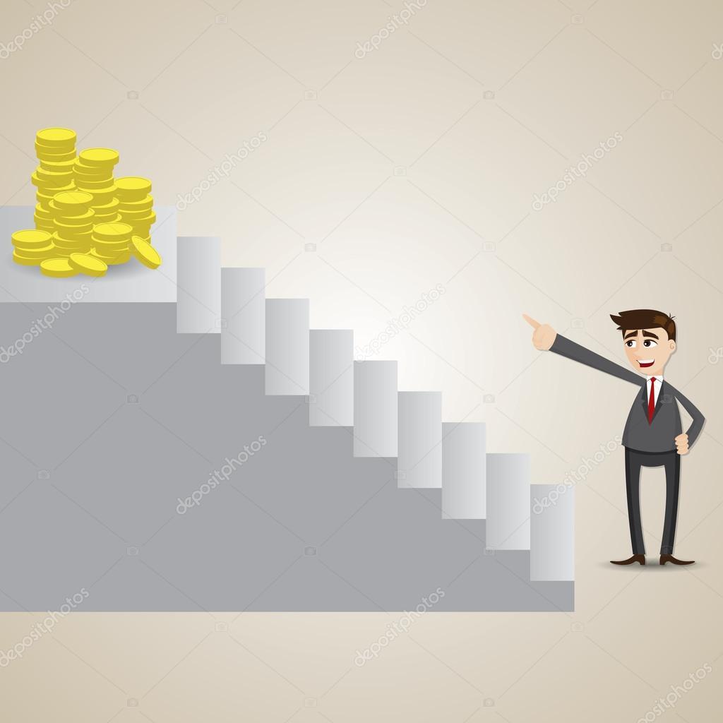 Dibujos animados enfoque empresario en moneda de oro en la
