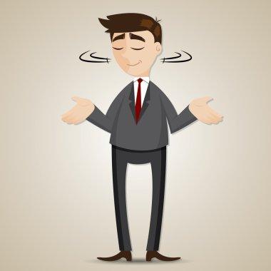 Illustration of cartoon businessman shrug shoulder stock vector