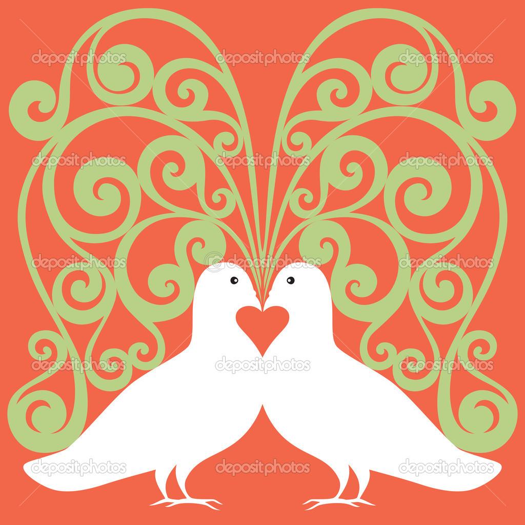 Colombe Bianche In Amore Con Cuore Rosso E Albero Simbolico