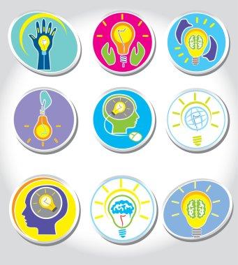 Light bulb idea and Management Icons set