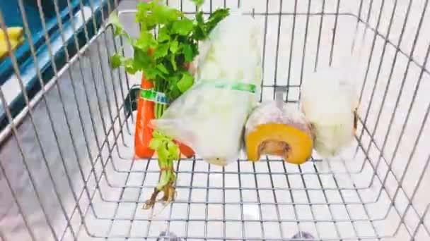 Shopping cart in supermarket timelapse