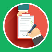 Flat design delivery signature and two hand