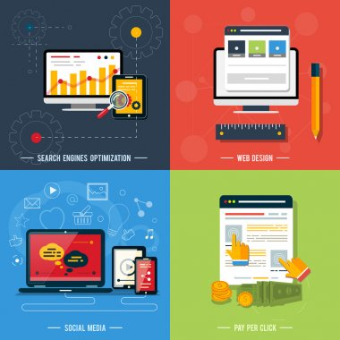 web design, seo, social media Icons