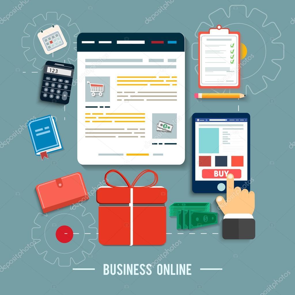 6ef6512059077 Iconos en línea de negocio. concepto de cartel con iconos de comprar  productos vía online shop y e-commerce símbolo de ideas y elementos de  diseño plano de ...