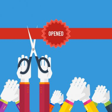 Grand opening - cutting red ribbon
