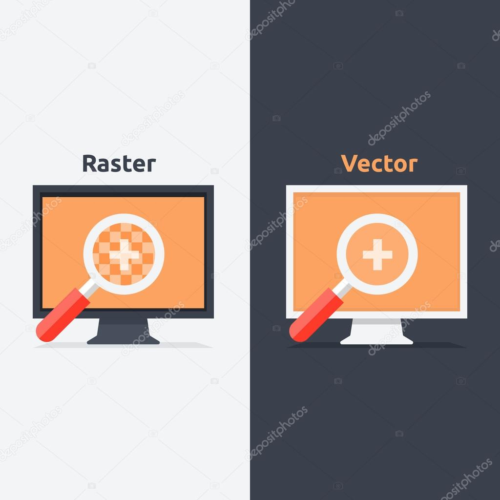 Difference Between Vector And Raster Format Stock Vector Robuart