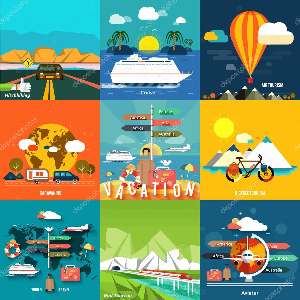Icons set of traveling and planning a summer vacation