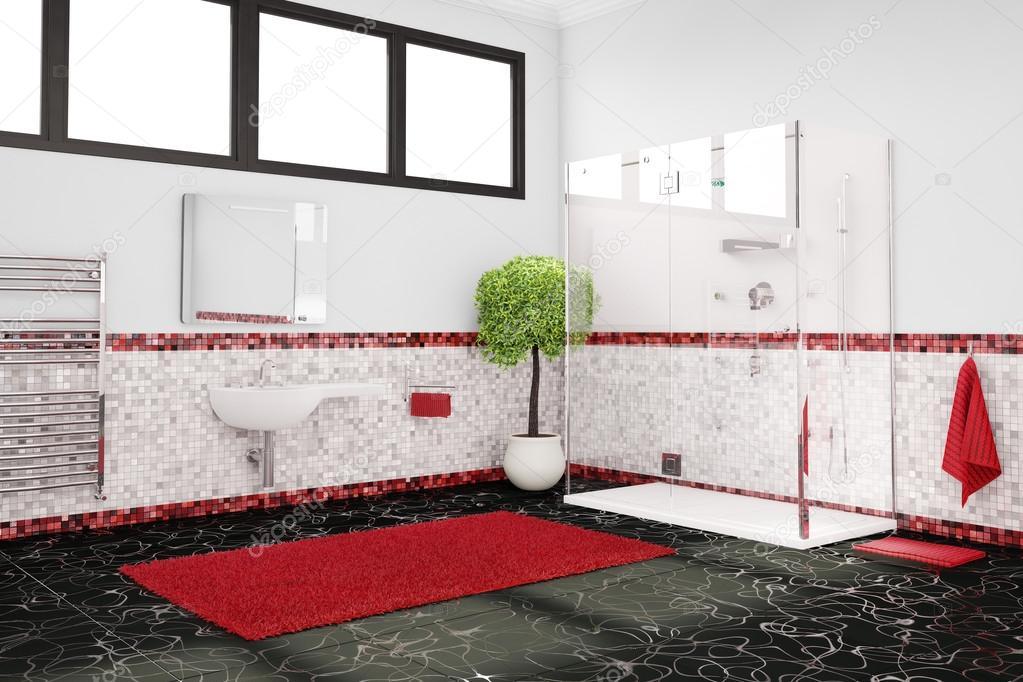 Salle de bain en rouge, blanc et noir — Photographie ...