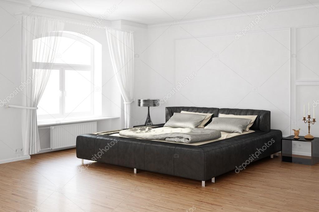 slaapkamer met bed en lederen delen — Stockfoto © fabian19 #27350077