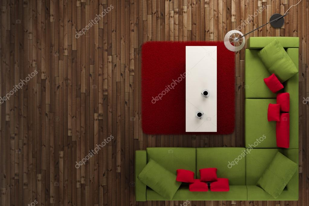 Chambre verte et rouge vue de haut — Photographie fabian19 © #28677537