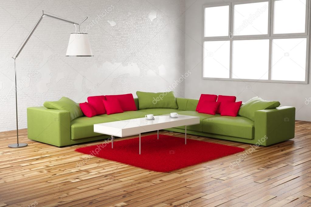 Chambre verte et rouge vue normale — Photographie fabian19 © #28677549