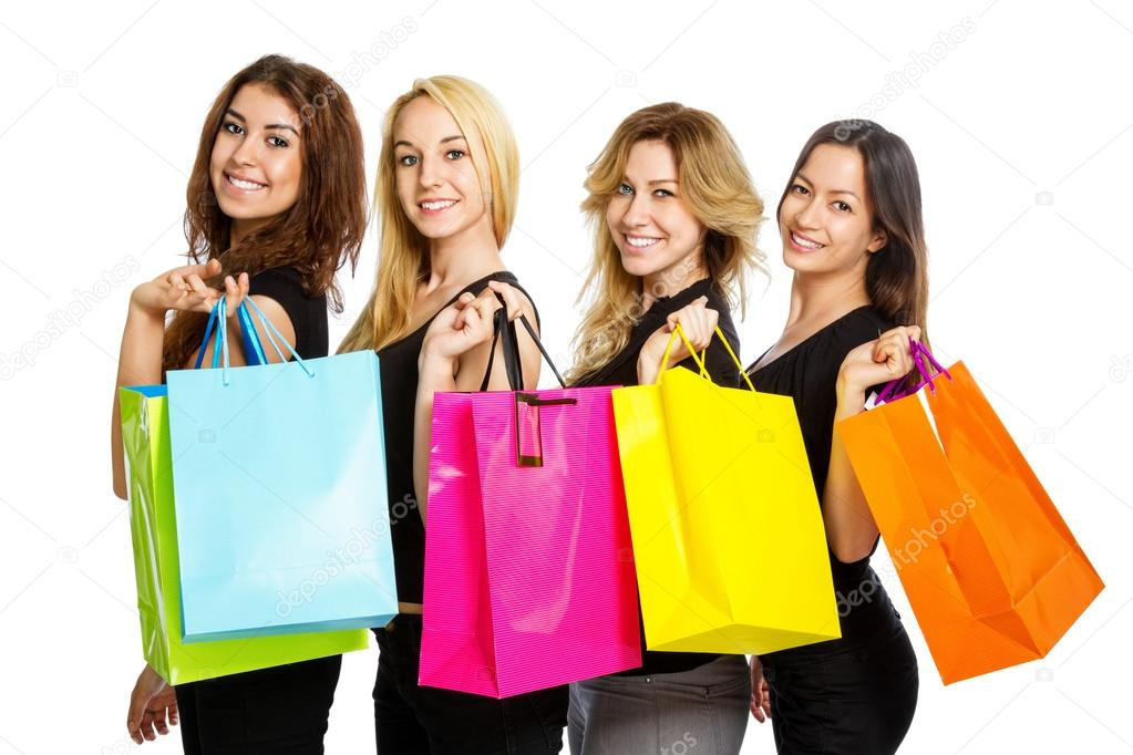 Four Girls with shopping bags over their shoulder — Stock Photo ...