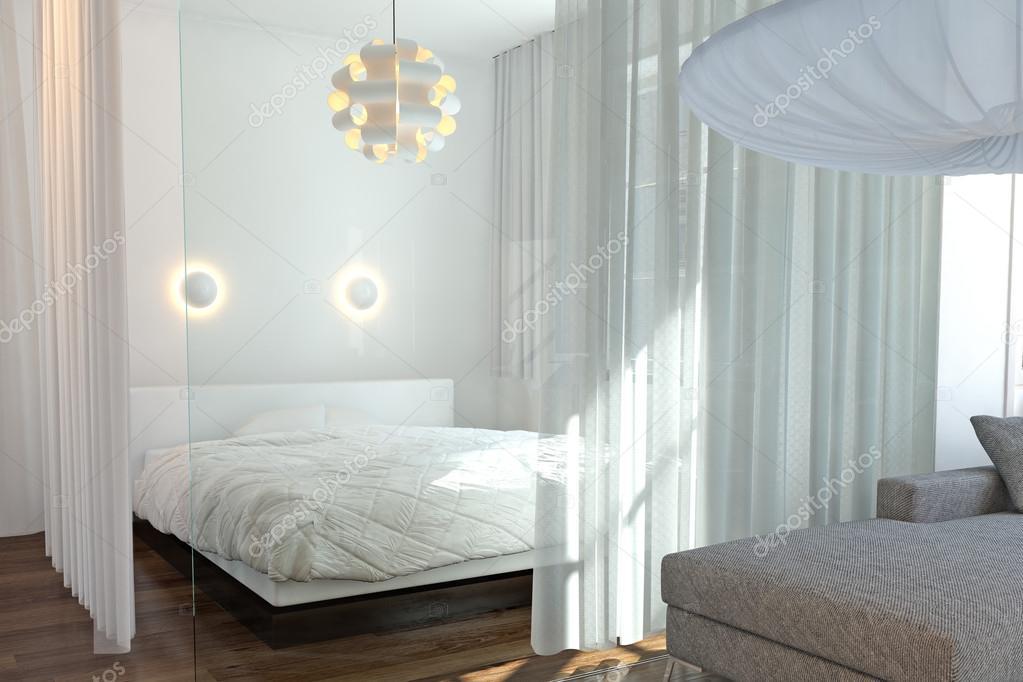 Moderna camera da letto con parete di vetro foto stock fabian19 29998403 - Parete camera da letto moderna ...