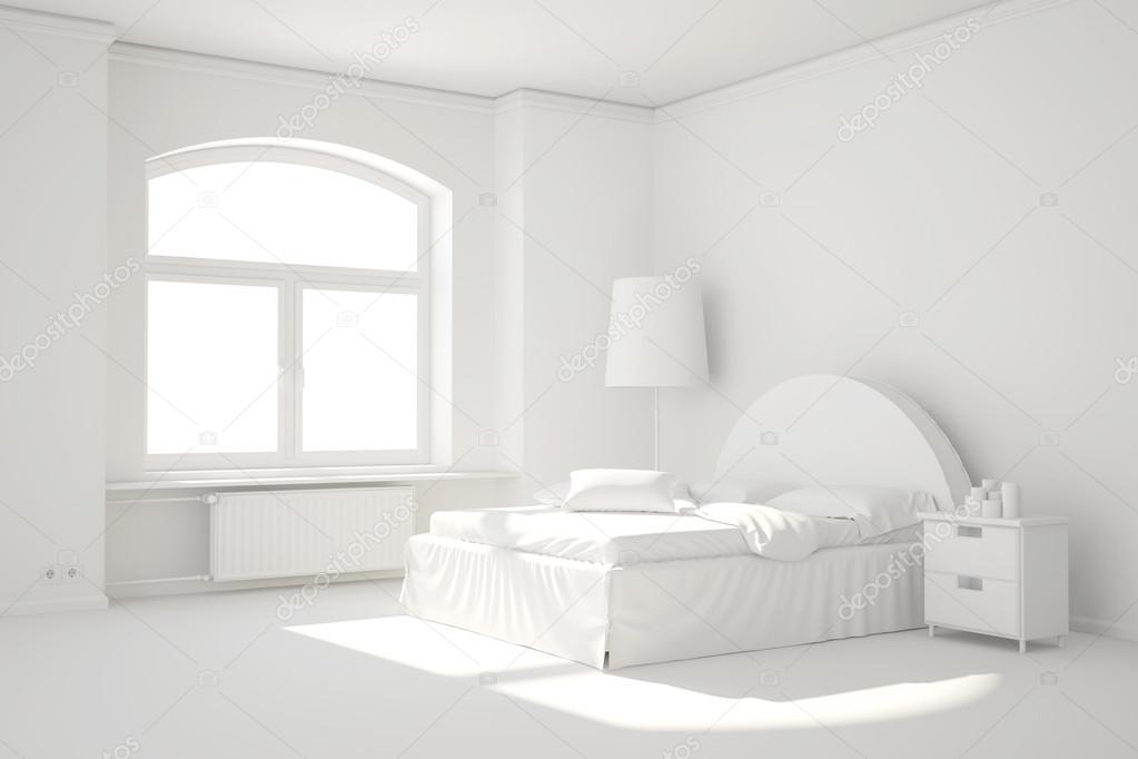 camera da letto bianca vuota con finestra e riscaldamento radiante ...