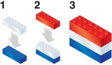 Building blocks making Netherlands flag