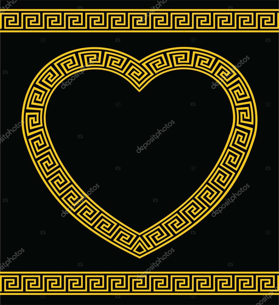 Greek key heart shaped frame stock vector raymondgibbs 26633213 heart shaped border or frame in greek key pattern vector by raymondgibbs jeuxipadfo Choice Image