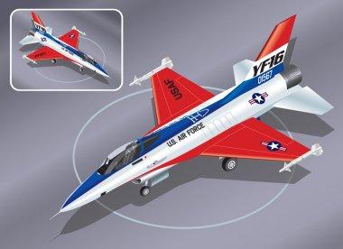 Detailed Isometric Vector Illustration of F-16 Jet Fighter