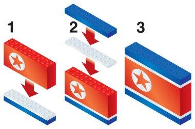 Building blocks making North Korean flag