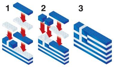 Building blocks making Greek flag