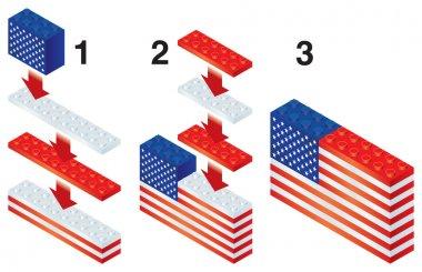 Building blocks making US flag