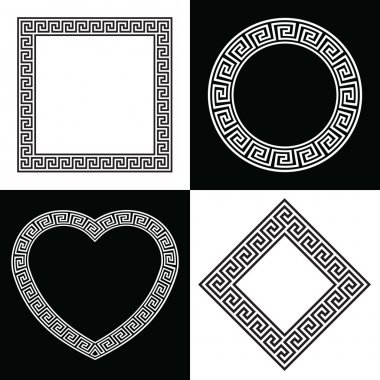 Four Greek Key Pattern Border Frames