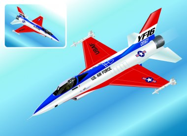 Detailed Isometric Vector Illustration of an F-16 Falcon Fighter Jet