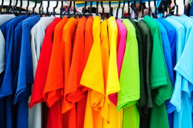 colorful t-shirt with hangers