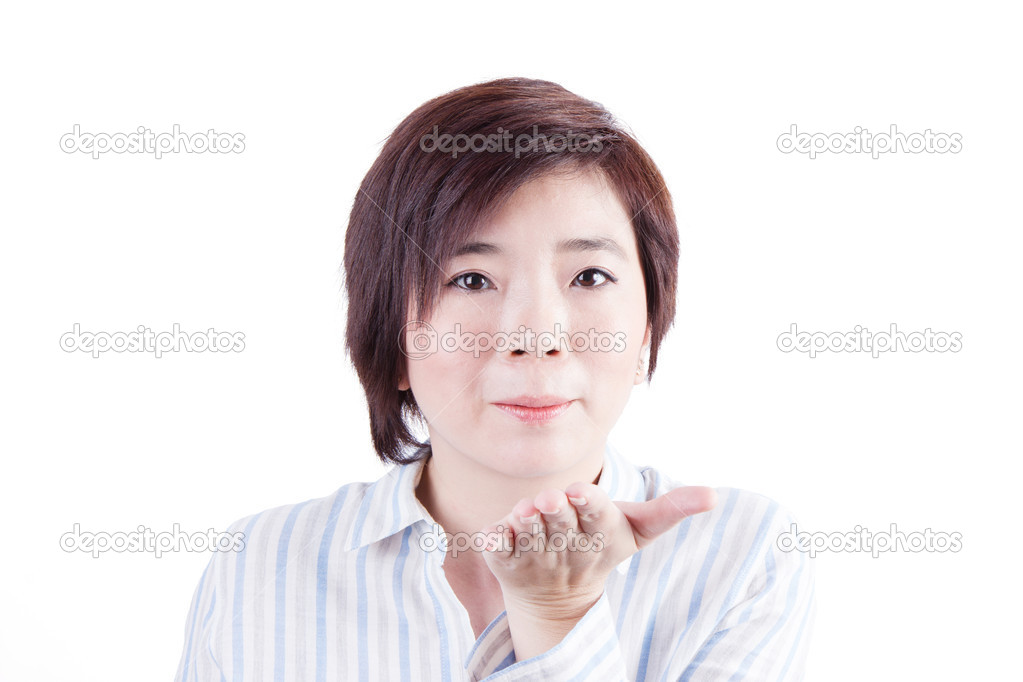 Asian woman whistle the wind out of mouth isolated on white background —  Photo by ...