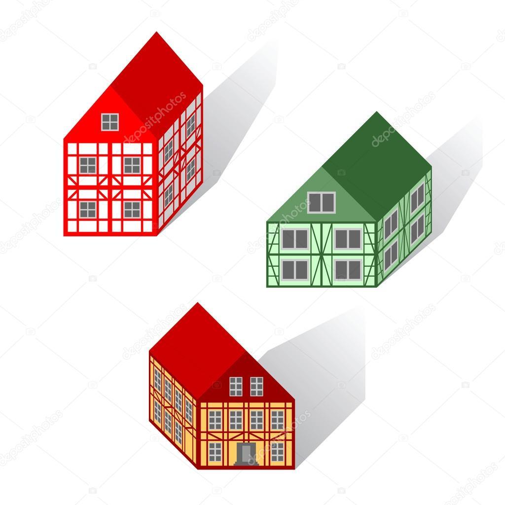 Rahmen Häuser set — Stockvektor © amicabel #34253193