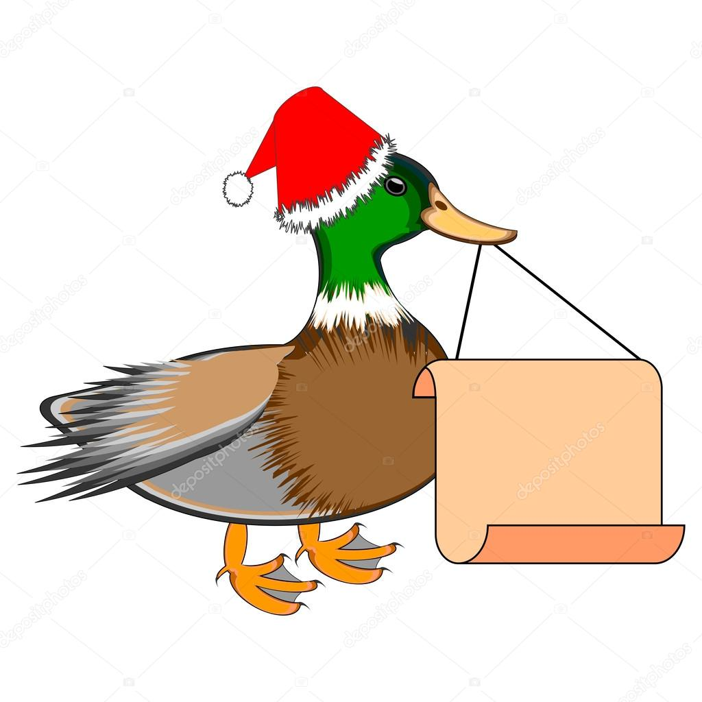 A Christmas duck with a big blank paper in his beak