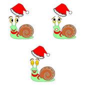 lustige Weihnachts-Schnecken mit verschiedenen Gesichtsausdrücken