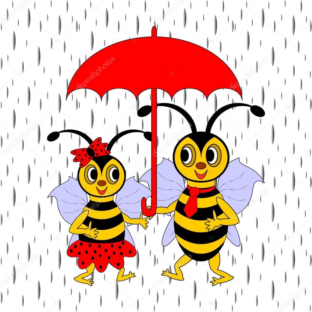 Ein Paar Lustige Cartoon Bienen Unter Rot Dach Im Regen
