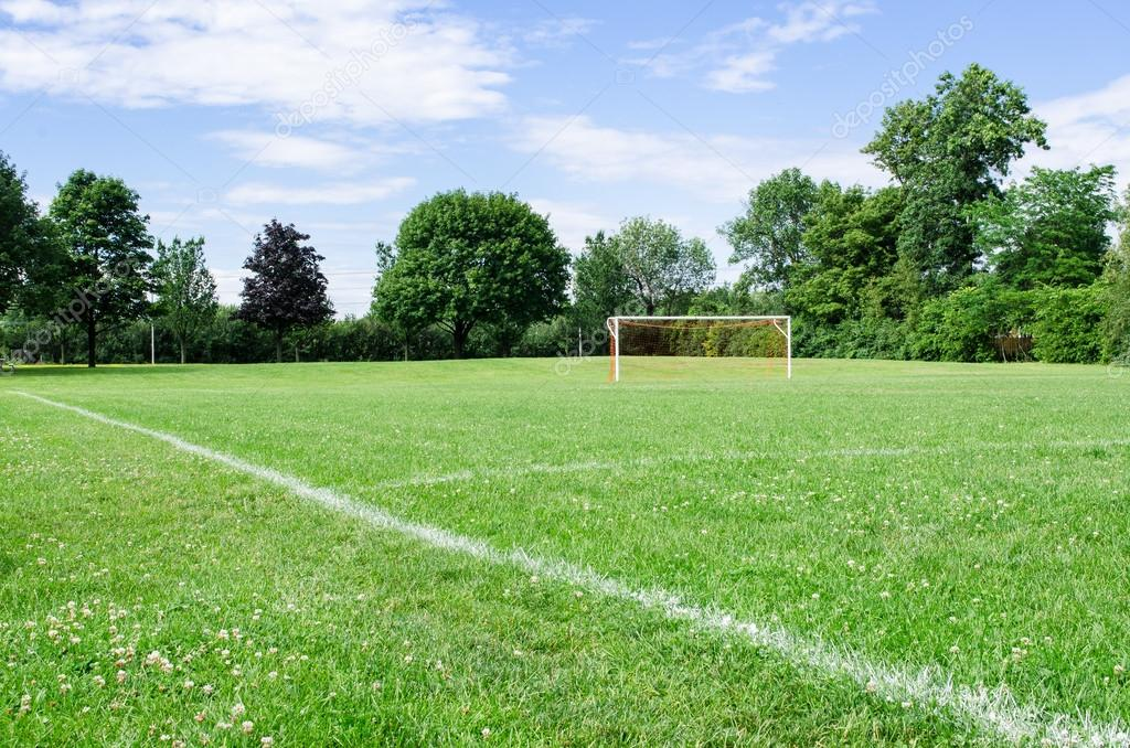 Public Soccer Field on summer day