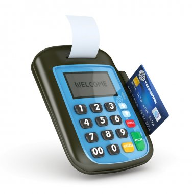 3D POS-terminal with Credit Card - isolated