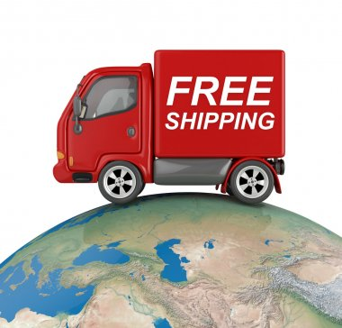 Free shipping delivery van on earth -isolated