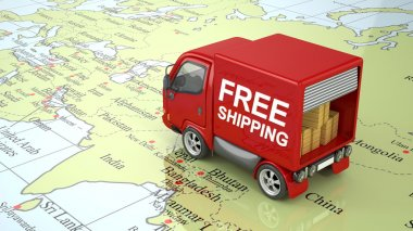 3D Red Delivery Truck on World Map isolated