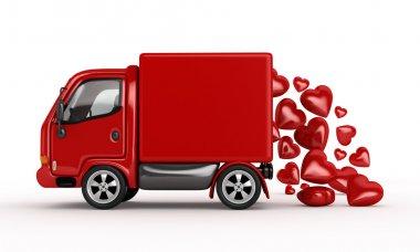 Valentine 3D Red Van with hearts