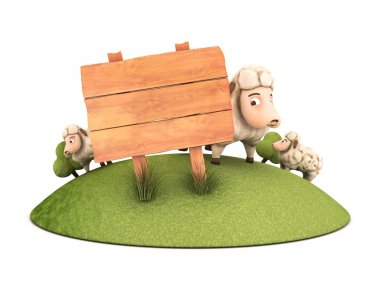 3d sheep with wooden frame