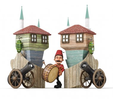 3d ramadan concept-ramadan drummer,drum,ramadan gun,muslim neighborhood