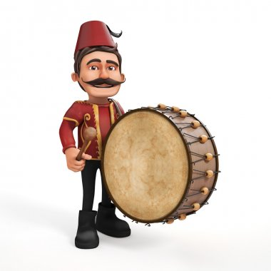 3D Traditional Ramadan Drummer and drum