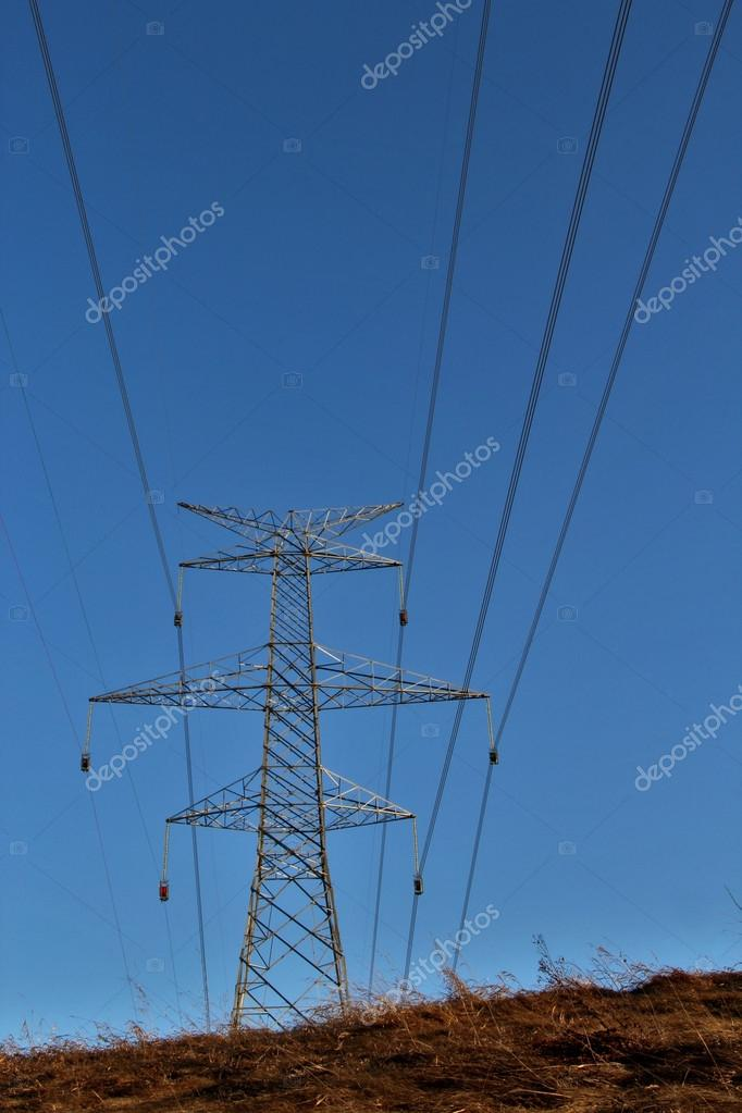 Electrical Wires And Pylon OverHead Stock Photo 43645101