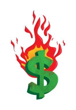 Burning dollar money illustration