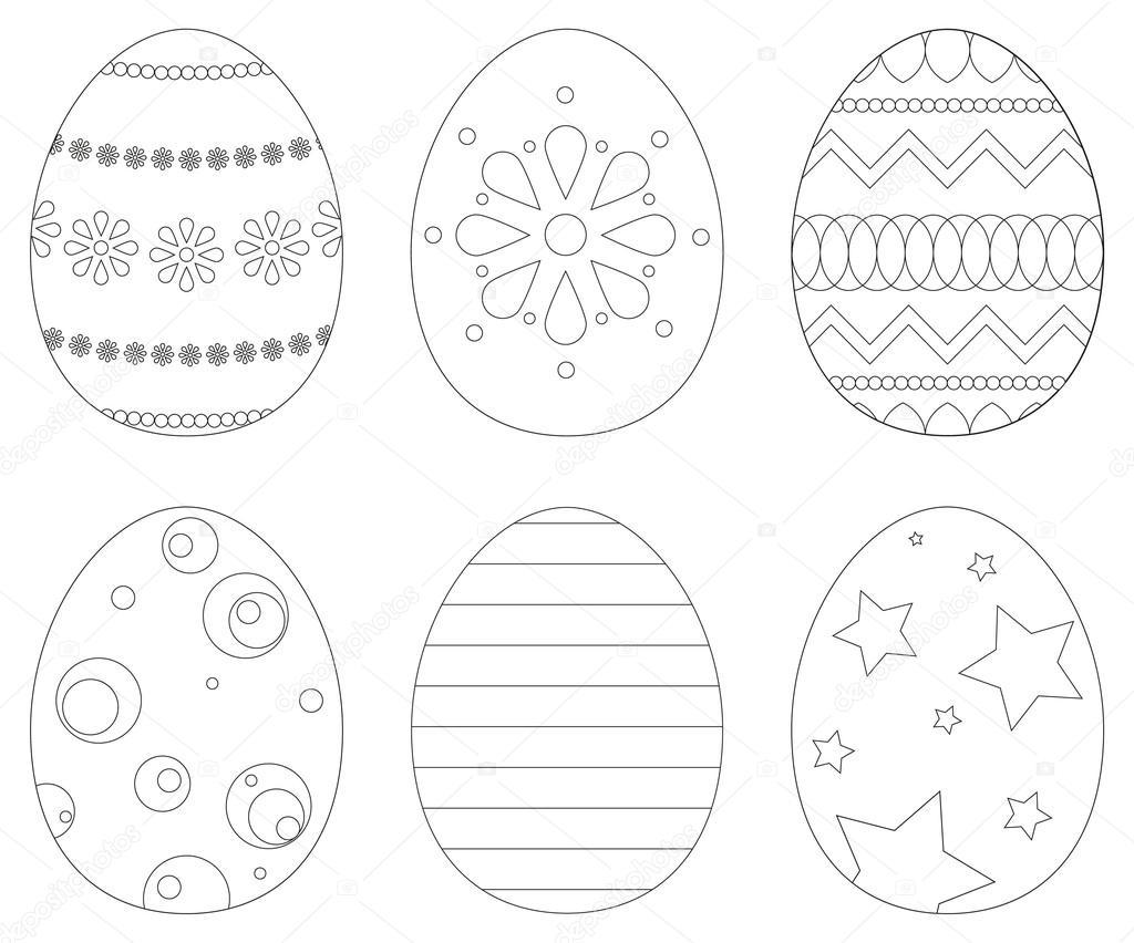 conjunto de 6 huevos de Pascua — Archivo Imágenes Vectoriales ...