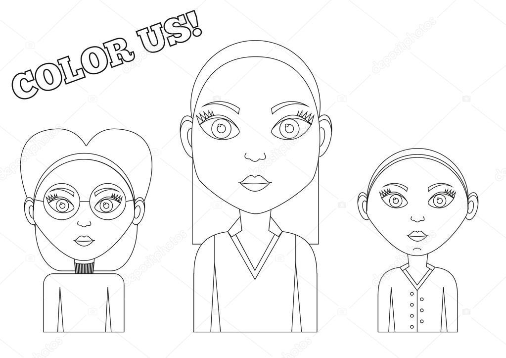 3 chicas - libro para colorear — Vector de stock © Ravennk #44635481
