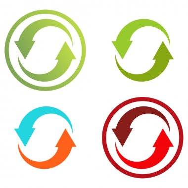 4 isolated colorful icons for recycle (or infographic)