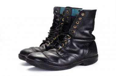 View of used polished israeli army boots