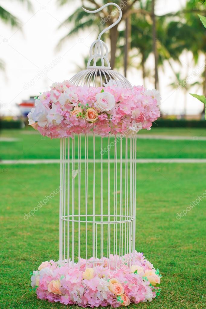 Panicle Of Flowers Decorations During Outdoor Wedding Ceremony