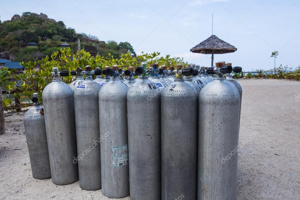 Many of Metal scuba diving oxygen tanks