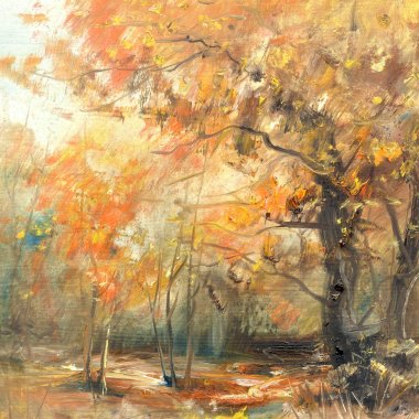 Fall colors, oil painting